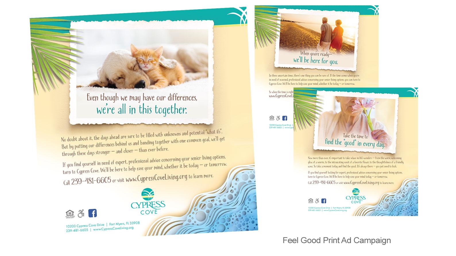 Cypress Cove print ad campaign